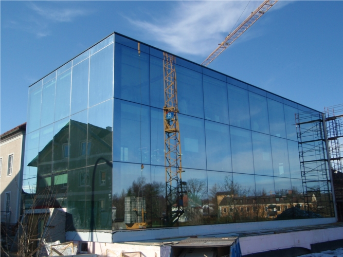 Structural glazing Fassade, Nurglas Windfang